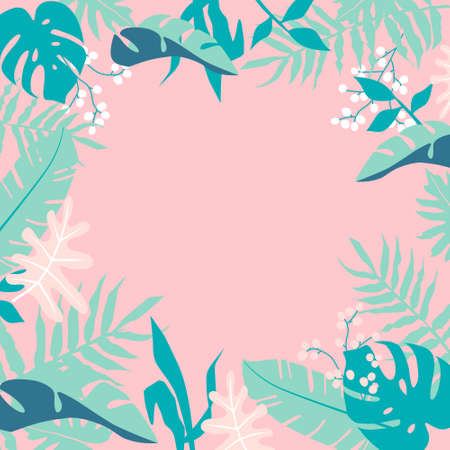 Tropical jungle leaves frame on pink background