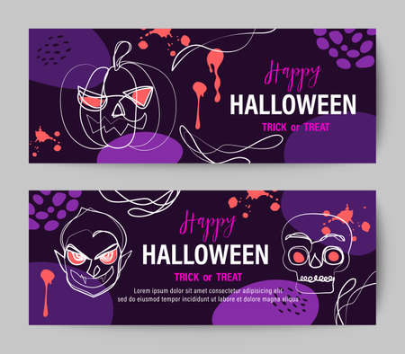 Purple Halloween holiday banner design with line drawing of pumpkin, vampire and skull. Ilustrace