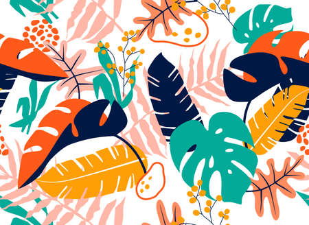 Colorful Tropical seamless leaves pattern background. Vector illustration