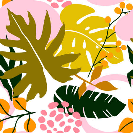 Tropical seamless floral leaves pattern background. Vector illustration
