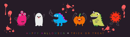 Funny Halloween monster cartoon character design. Vector illustration.