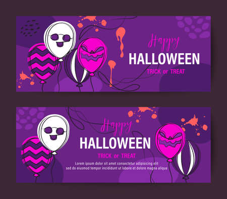 Purple Halloween holiday banner design with spooky face balloon. Vector background