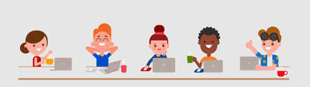 Young adult characters using laptop computer in flat design style isolated. Diversity people portrait with their laptops. Vector cartoon illustration.