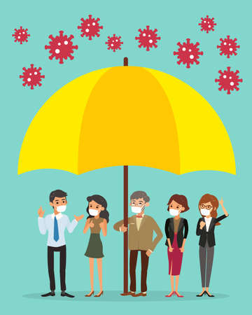 Covid-19 protection concept illustration. Team of business people under big umbrella, safe from coronavirus. Vector cartoon illustration. Ilustrace