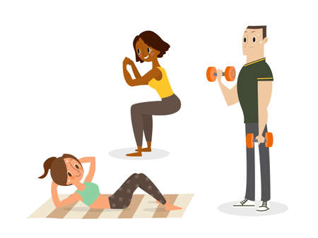 People doing body weight training, sit up, squat, dumbbell exercise. vector cartoon illustration