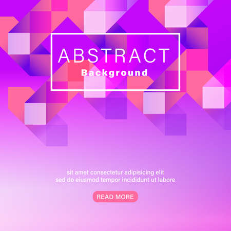 Abstract geometric shape vivid neon color magenta pink background. Landing page graphic background.
