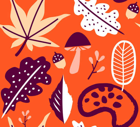 seamless autumn leaves orange pattern background. Vector illustration