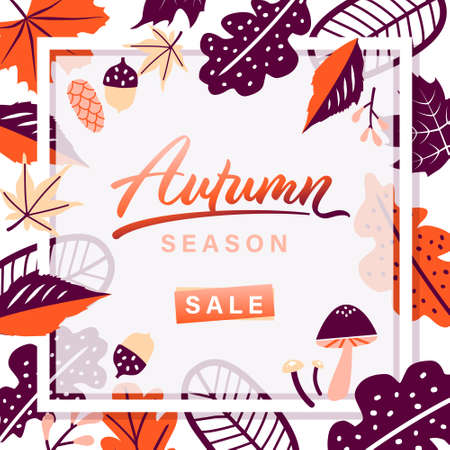 Autumn leaves season sale frame on white background. vector illustration. Ilustrace