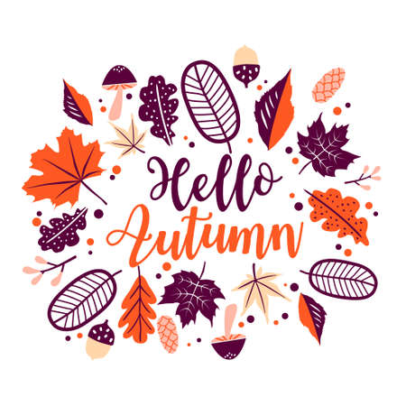 Hello autumn lettering with orange floral leaves. Vector foliage frame isolated on white background.