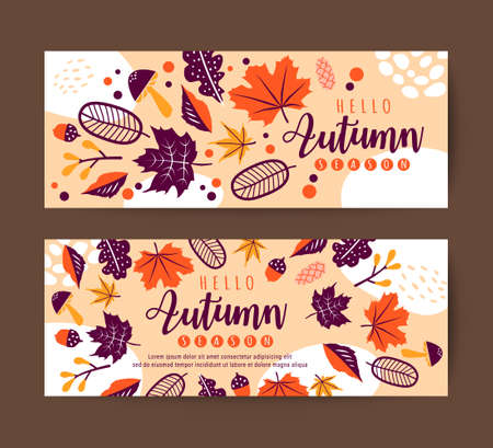 Autumn leaves banner design template. Vector floral background.