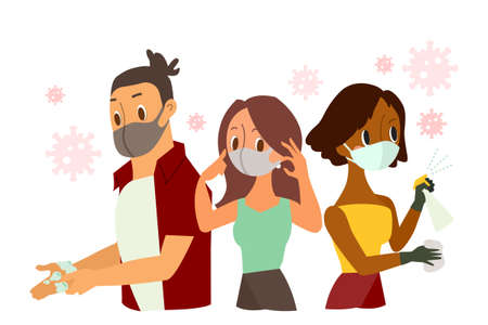 protecting yourself from coronavirus. People wearing protective face mask, hand washing, Spraying Anti-Bacterial Sanitizer Spray. Vector cartoon illustration