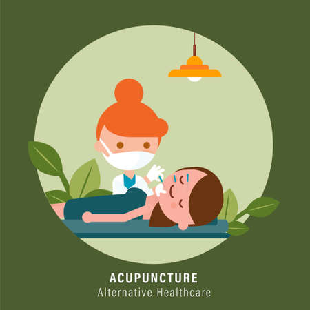 Person receiving facial acupuncture treatment from practitioner. Alternative healthcare illustration