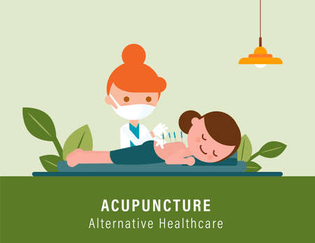 Person receiving back pain acupuncture treatment from practitioner. Alternative healthcare illustration Ilustrace