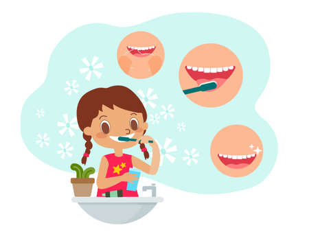 Young girl Brushing teeth. Dental and orthodontic daily life illustration. vector cartoon character. Ilustrace