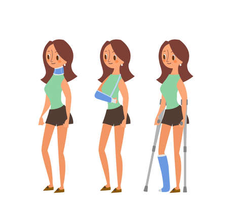 Injured woman cartoon illustrations. Woman with Broken legs in plaster cast, arm and neck injuries. Vector character isolated. Ilustrace