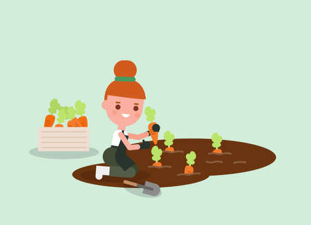 Female Gardener cartoon Harvesting carrot. Young agricultural workers illustration. Vector flat design character. Ilustrace