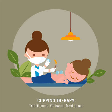 Person receiving Cupping therapy treatment from practitioner. Traditional chinese medicine illustration Ilustrace