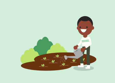 Young African American man watering plant. Agricultural workers illustration. Vector flat design character.