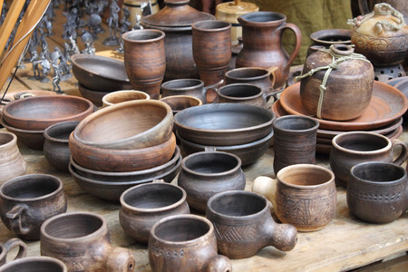 middle ages: exhibition of tableware early middle ages in the historical reconstruction