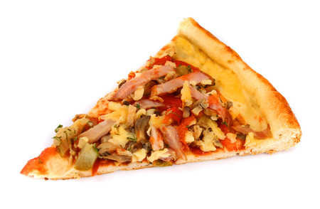 pizza slice: Pizza on white background  Stock Photo