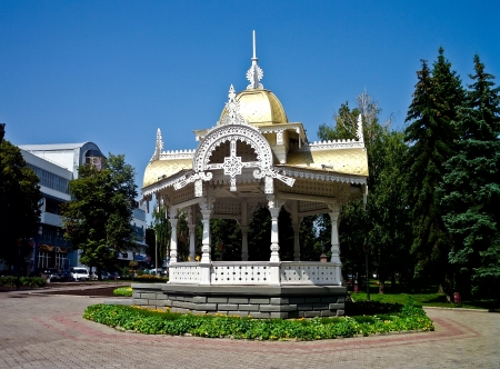 bower: The Pavilion  in original - Altanka   - one of the symbol of the Sumy  Ukraine , wooden monument of the architecture Stock Photo