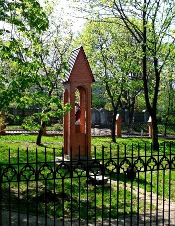 sumy: Figurine of Jesus Christ in the air, spring  Sumy, Ukraine