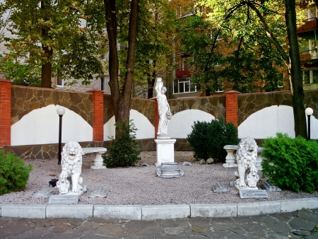 sumy: This place is located in the courtyard of the Sumy Academy of Banking, Ukraine  Stock Photo