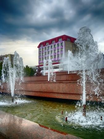 sumy: Fountain Sadko on an overcast day