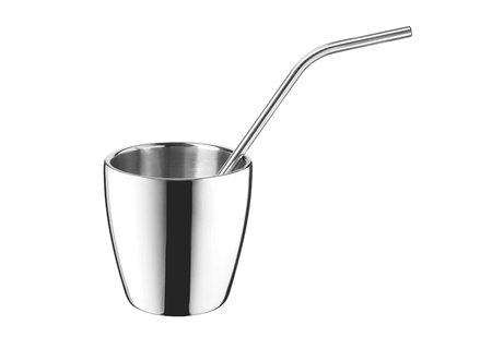 Steel mug with stainless straw isolated on white background.