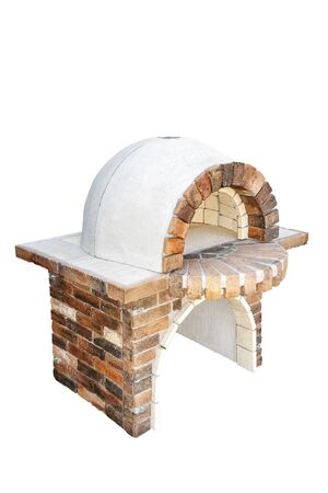 Brick garden furnace for baking or grilling meat, pizza, bread, etc. Isolated on a white background.