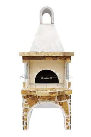 Barbecue Open Fireplace with a metal lid For Cookout Food. Outdoor BBQ Grill. Open Summer Kitchen. Barbeque Grill Made From Bricks On The Backyard. Isolated On a White Background.