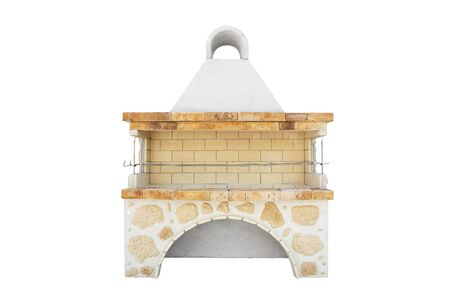 Big Barbecue Open Fireplace For Cookout Food. Outdoor BBQ Grill. Open Summer Kitchen. Barbeque Grill Made From Bricks On The Backyard. Isolated On a White Background. Imagens