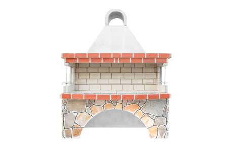 特大型烧烤开放式壁炉的户外食物。户外烧烤烧烤。夏天开放的厨房。后院砖制烧烤架。孤立在白色背景上。
