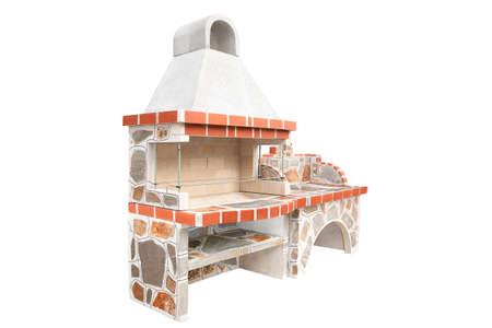 大型烧烤开放壁炉2架与水槽。户外BBQ格栅。打开夏季厨房。由砖制的烤肉烤肉在后院。隔绝在白色背景。