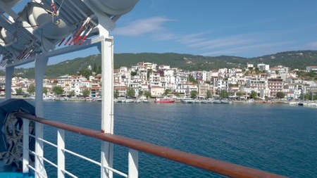 POV Walking Along Deck to the side of Cruise Ship at the Aegean Sea, Greece.