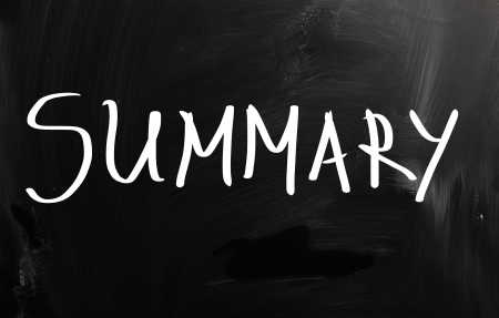 Summary handwritten with white chalk on a blackboard