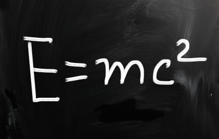 E=mc2 handwritten with white chalk on a blackboard photo