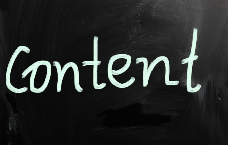 The word  Content  handwritten with white chalk on a blackboard Stock Photo - 20007060