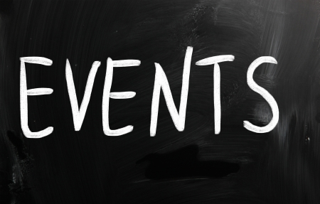 event icon: Events handwritten with white chalk on a blackboard