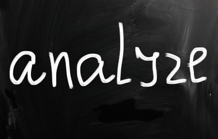 Analyze handwritten with white chalk on a blackboard photo