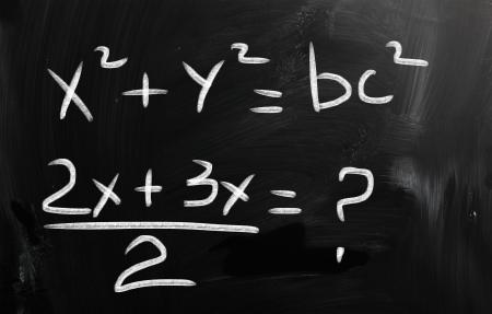 computations: blackboard with math text Stock Photo