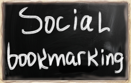 wikis: social media concept - text on a blackboard. Stock Photo