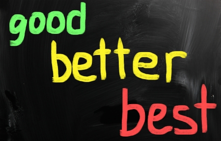 Good, better and best words on black background photo
