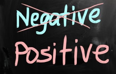 Positive handwritten with white chalk on a blackboard