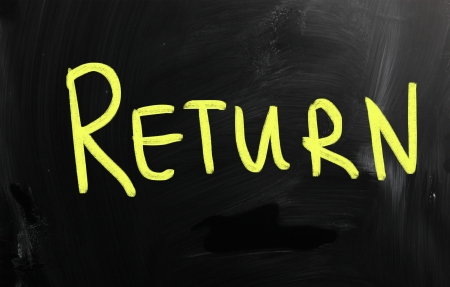 Return handwritten with white chalk on a blackboard photo