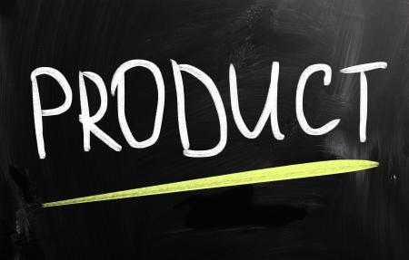 distribution board: Product handwritten with white chalk on a blackboard