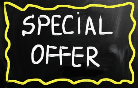 Special offer handwritten with white chalk on a blackboard photo
