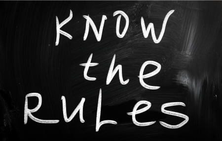 Know the rules handwritten with white chalk on a blackboard photo