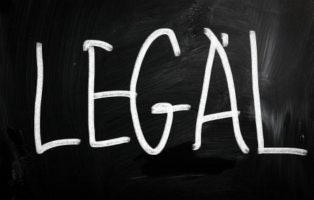 The word Legal handwritten with white chalk on a blackboard photo