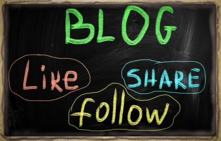 social media concept - text on a blackboard. Stock Photo - 20825952